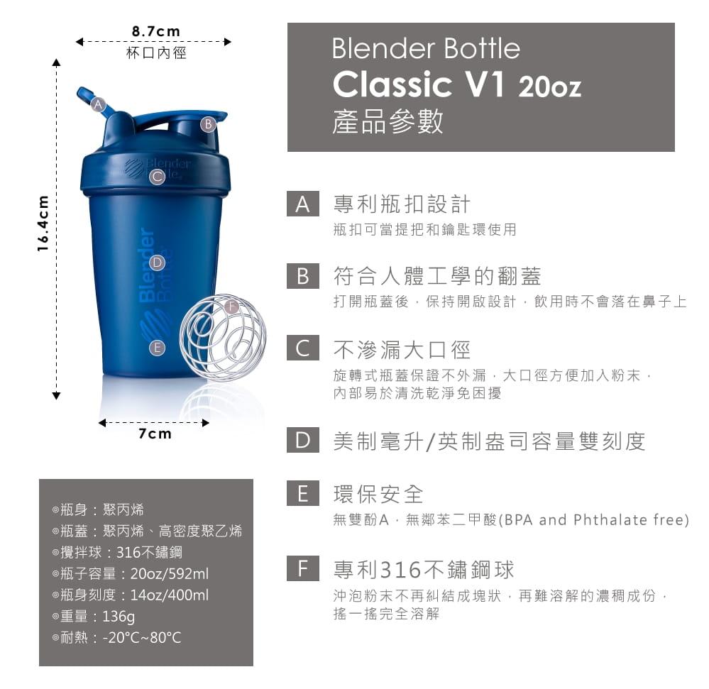 【Blender Bottle】Classic系列 弧線時尚 經典搖搖杯 20oz 6色 6