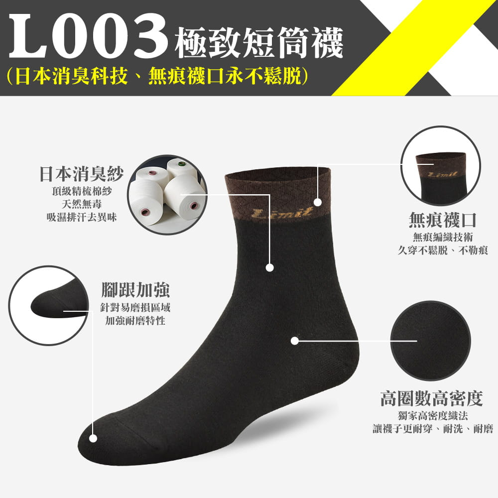 【力美特機能襪】極致短筒襪(菱格黑) 0