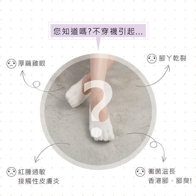 【Peilou】後跟防脫落隱形五指襪(3款可選) 15