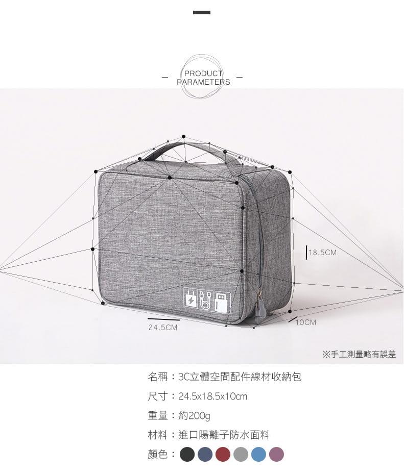 旅行防震防潑水耐磨3C線材收納包 立體空間配件收納袋 5