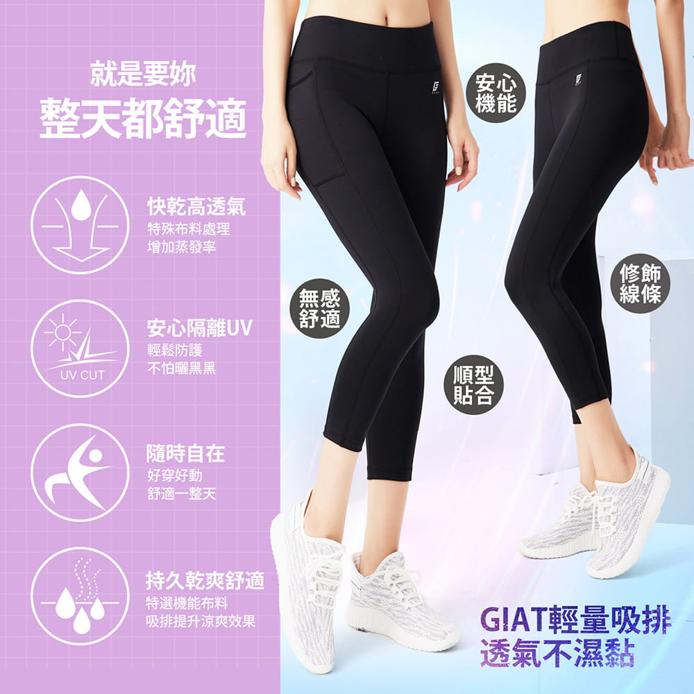 【GIAT】台灣製UV排汗機能壓力八分褲(馴魂褲) 2