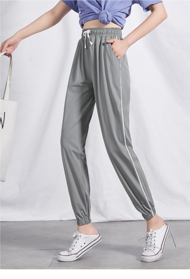 冰絲涼爽條紋顯瘦運動褲 15