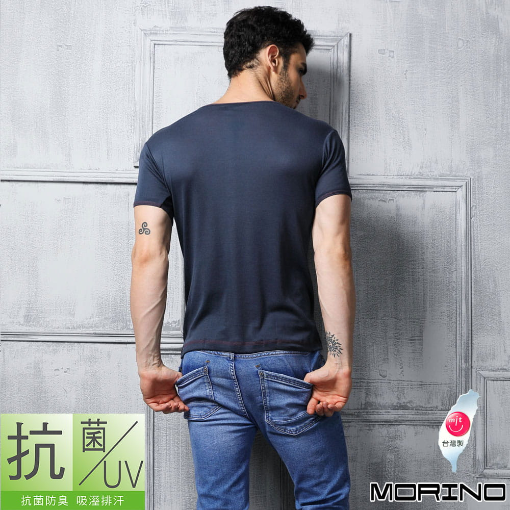 【MORINO摩力諾】抗菌防臭速乾短袖V領衫 6