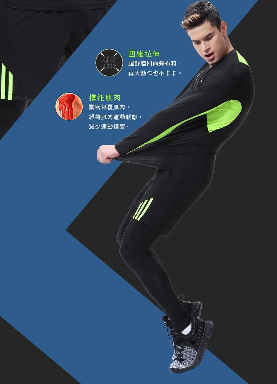 【Un-Sport高機能】型男專業吸排速乾三件式運動套組(長袖+短褲+緊身長褲) 5
