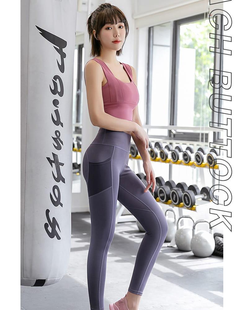 【健身神器】口袋性感高腰蜜桃裸感健身壓力褲 瑜珈褲 重訓褲 運動褲 健身褲 12