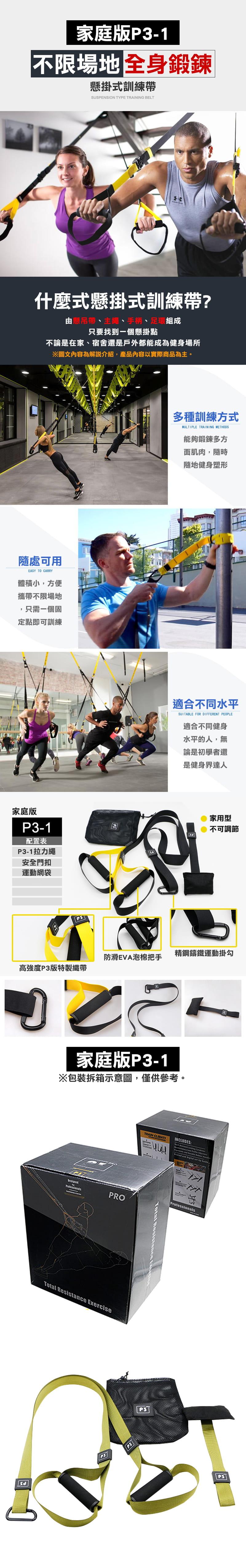 家庭版P3-1 懸掛式訓練帶 核心肌群 TRX 健身 1