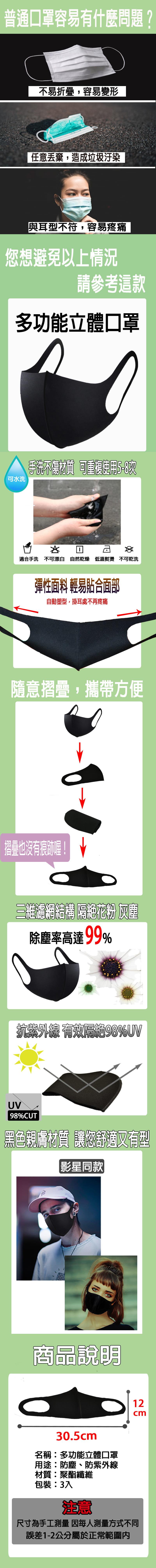 【勝利者】立體口罩 抗UV防塵 可水洗重複口罩 3入裝 1