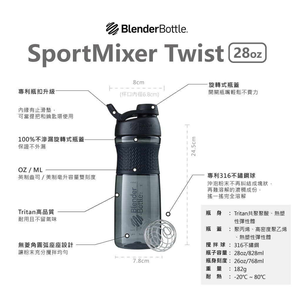 【Blender Bottle】SportMixer系列|新款曲線透亮搖搖杯|28oz|5色 6