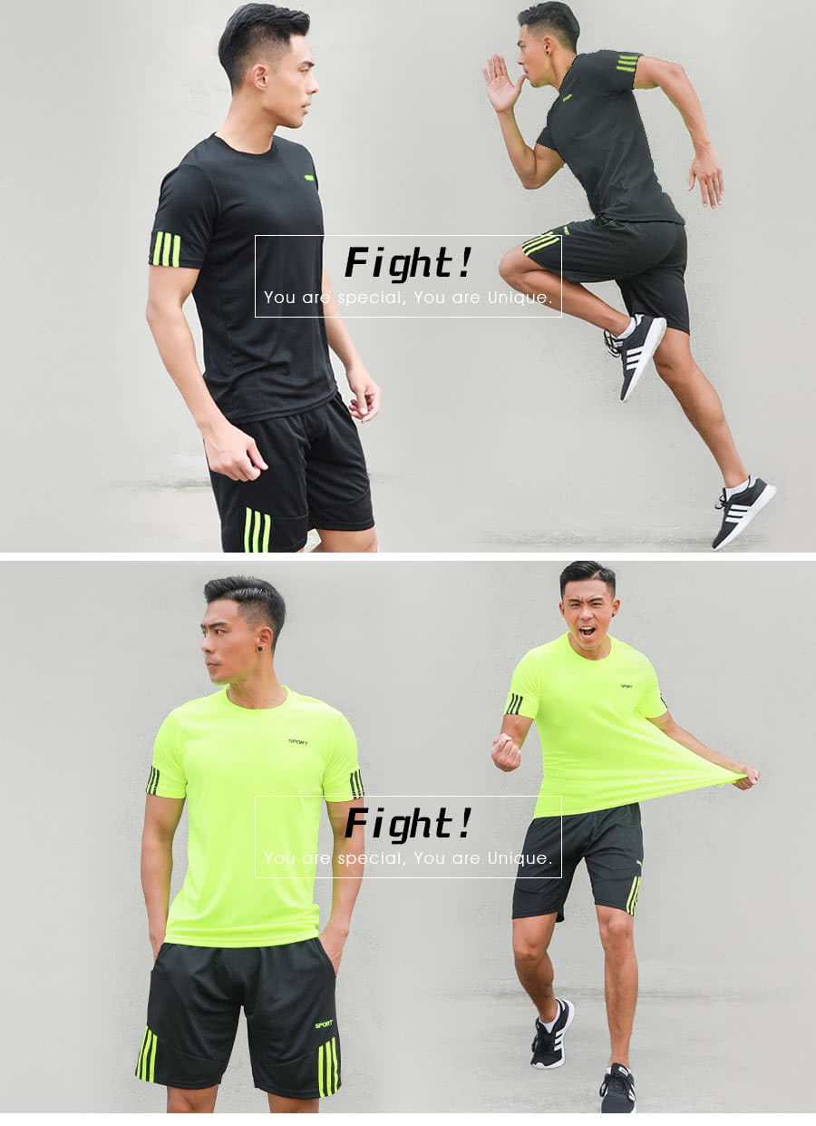 【Un-Sport高機能】SPORT男專業瞬間吸排二件式運動套裝(健身/路跑/籃球)短袖+短褲 7