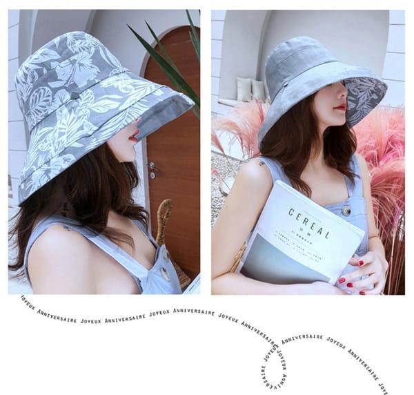 日系雙面拼色摺疊遮陽帽 11