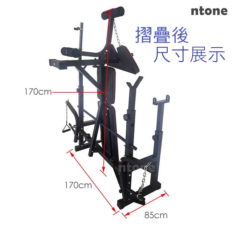 多功能全方位重訓床 重量訓練 健身器材 健身 自主訓練,高低拉+啞鈴椅+舉重架+擴胸機 8