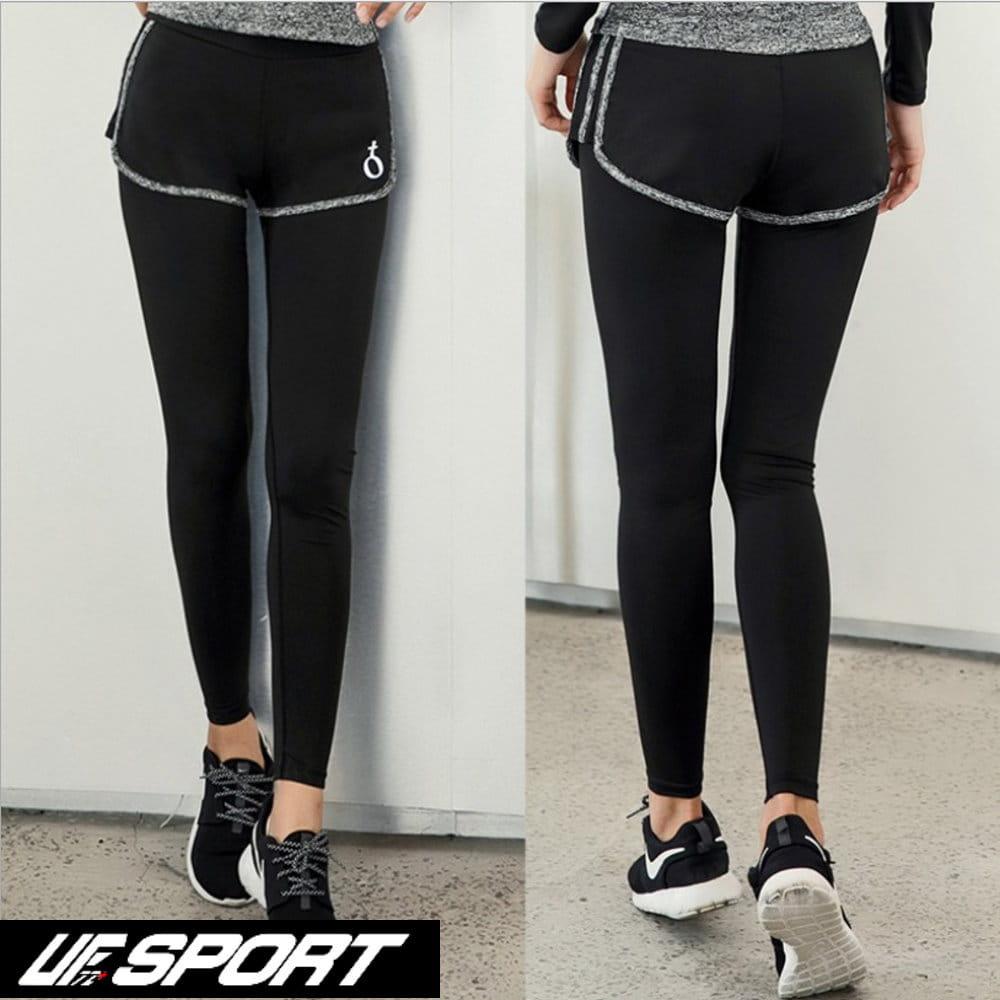 【UF72+】UF-W17121時尚高彈力女款速乾瑜珈輕壓假兩件運動褲/黑灰 0