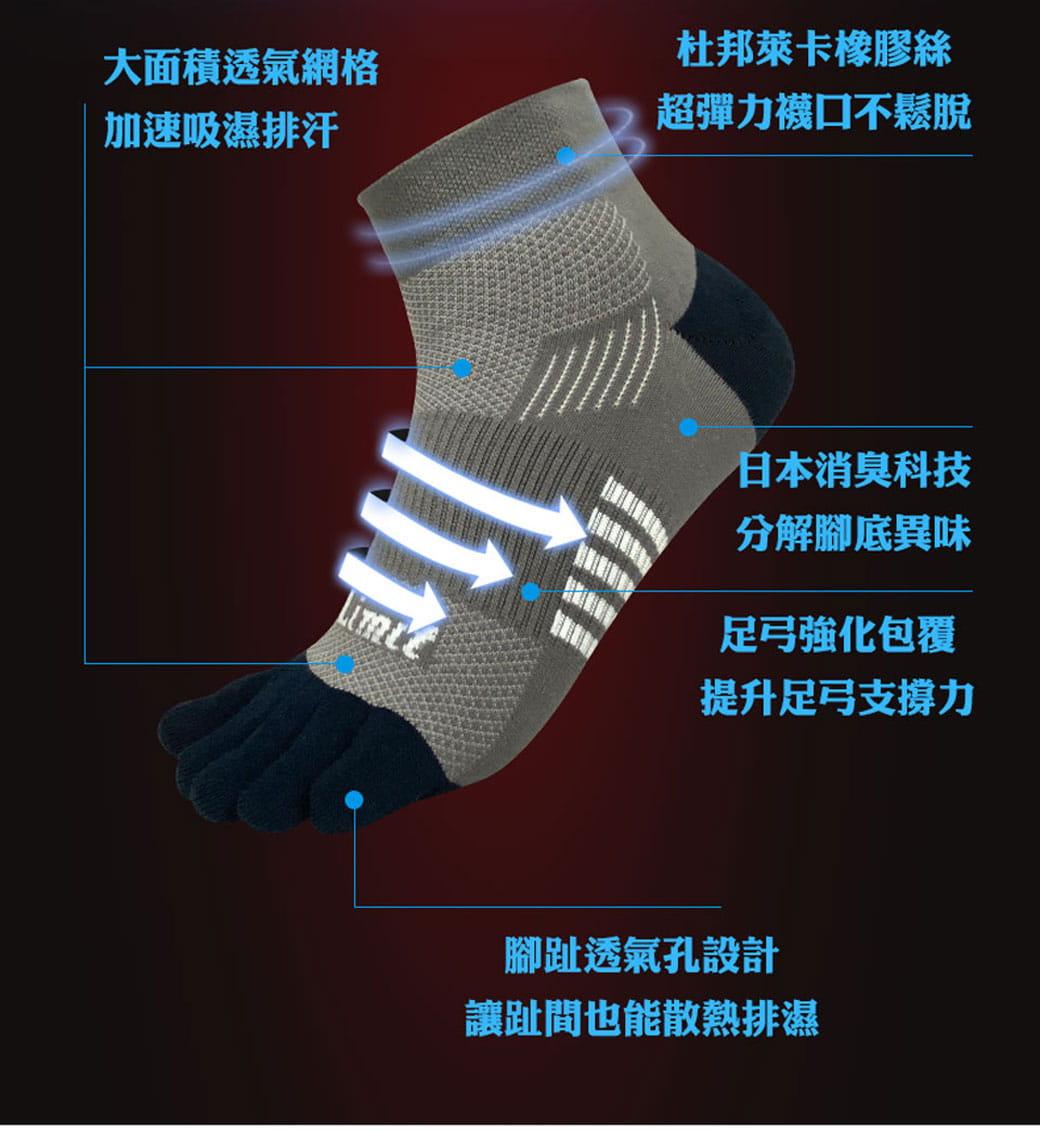 【力美特機能襪】五趾運動襪(灰丈青) 4