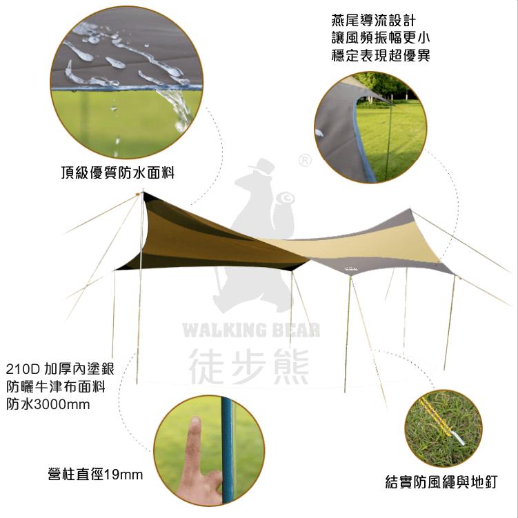 徒步熊 蝶型天幕 560x550cm 全配套裝 9