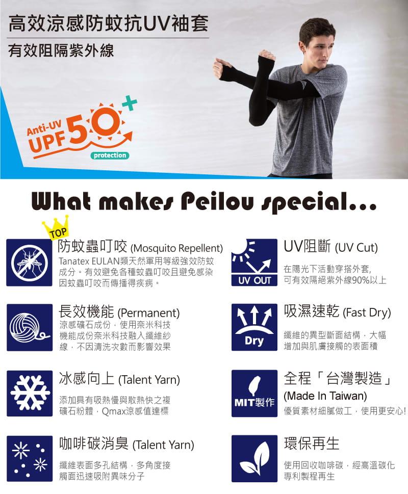 【Peilou】高效涼感機能防蚊抗UV防曬袖套_純色加大 15