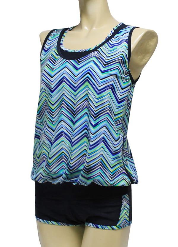 【AGE BOAT】大女藍色水波紋外罩衫內搭運動型泳衣三件式泳衣M8430 4