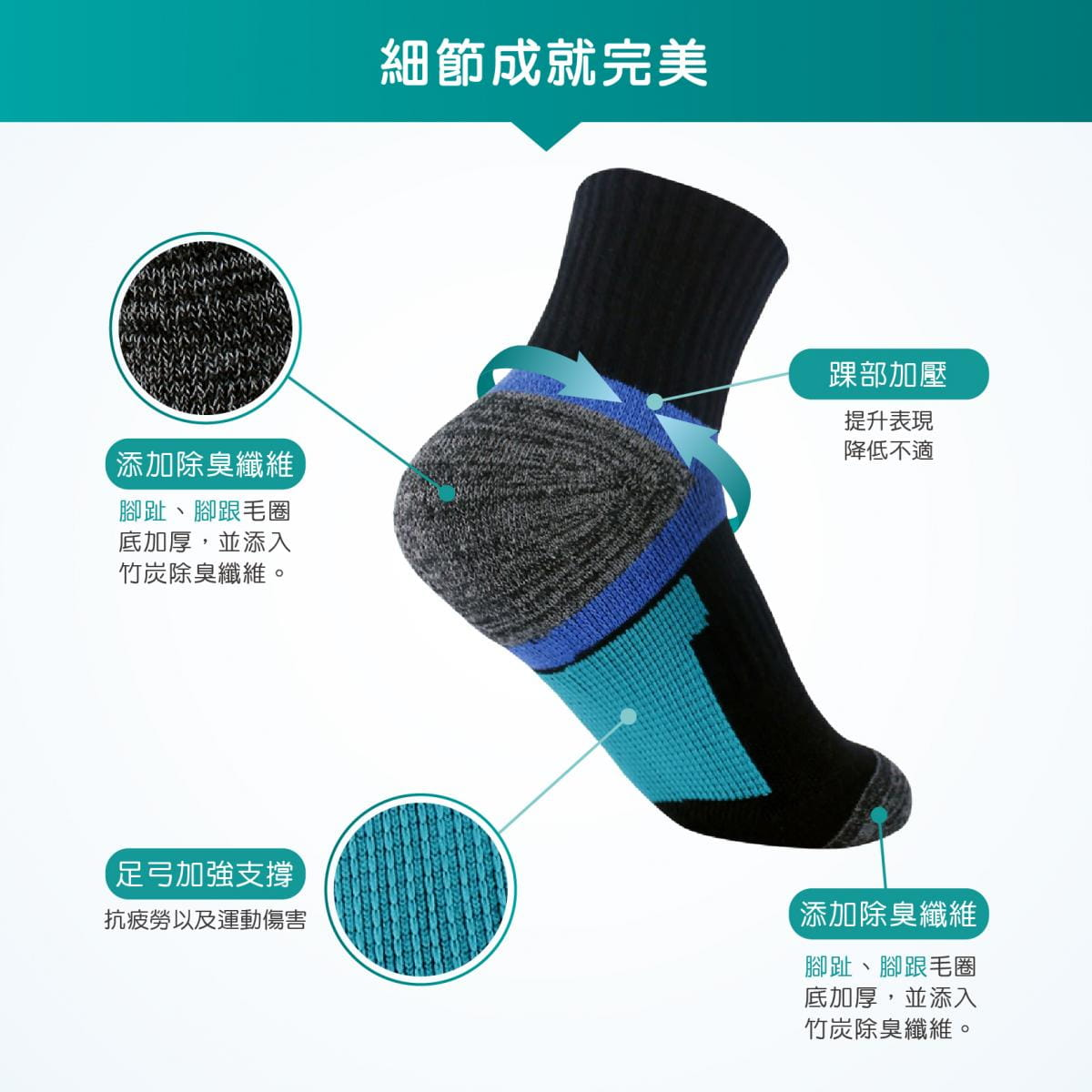 【FAV】兒童足弓除臭襪-無止滑 2