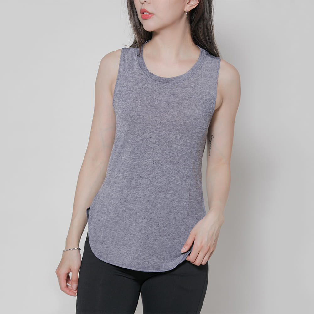 【MARIN】台灣製-酷涼透氣運動背心 黑色/灰色 3