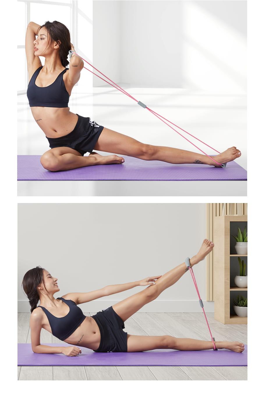【Un-Sport高機能】Fitness Kit女力健身超值套組(8字拉力帶+瑜珈環) 4