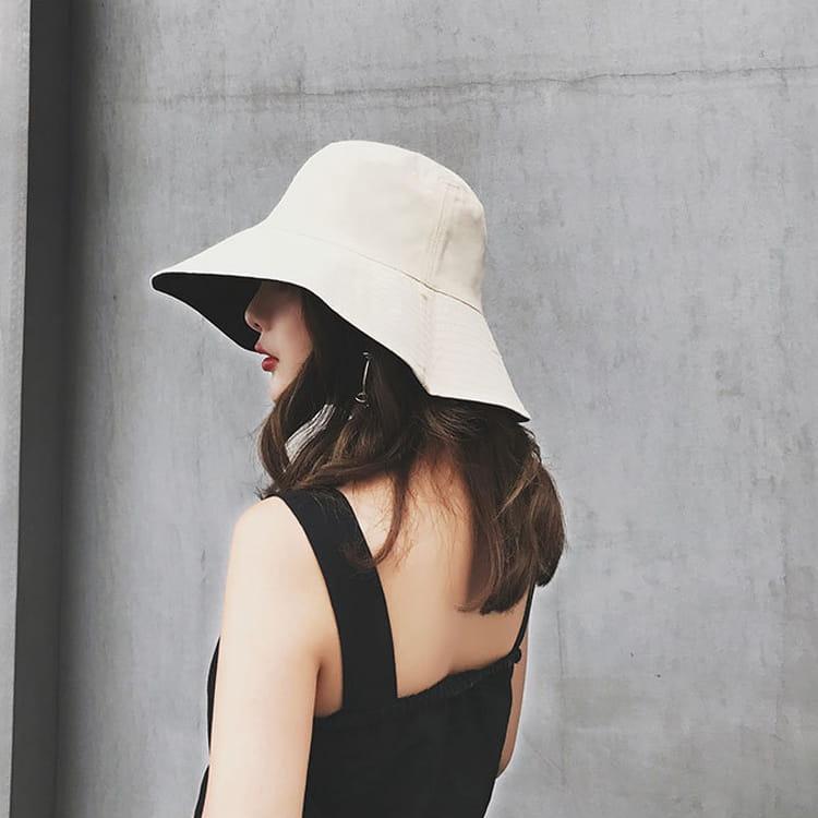 雙面透氣小臉遮陽帽 日系雙面拼色摺疊遮陽帽 大帽沿 0