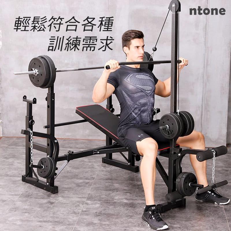 多功能全方位重訓床 重量訓練 健身器材 健身 自主訓練,高低拉+啞鈴椅+舉重架+擴胸機 1