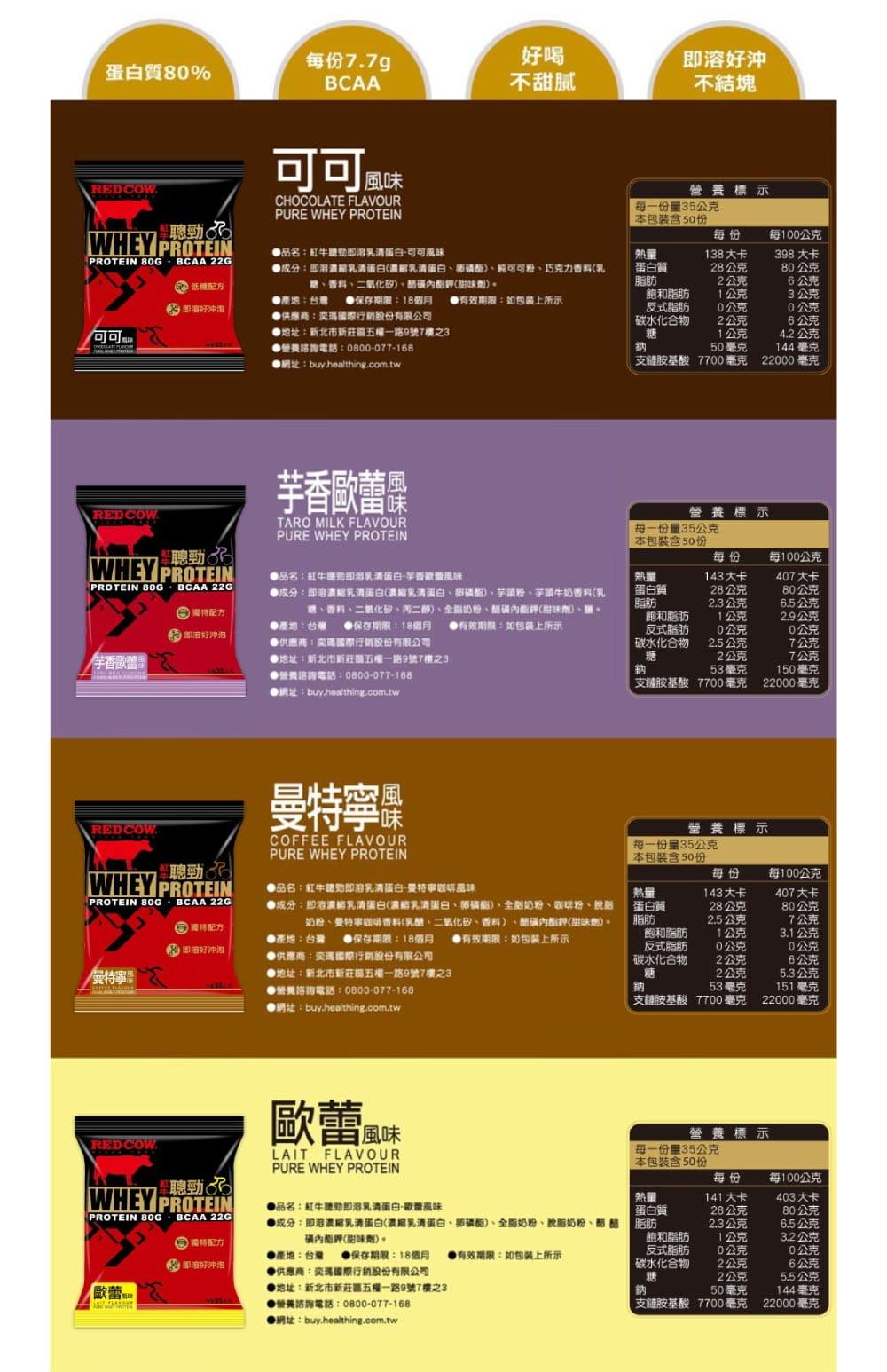 【RED COW紅牛聰勁 】即溶乳清蛋白50入-紅豆歐蕾風味(贈運動包) 6