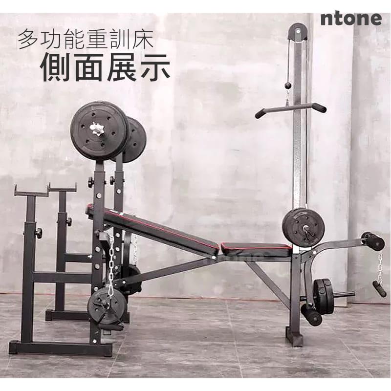 多功能全方位重訓床 重量訓練 健身器材 健身 自主訓練,高低拉+啞鈴椅+舉重架+擴胸機 3