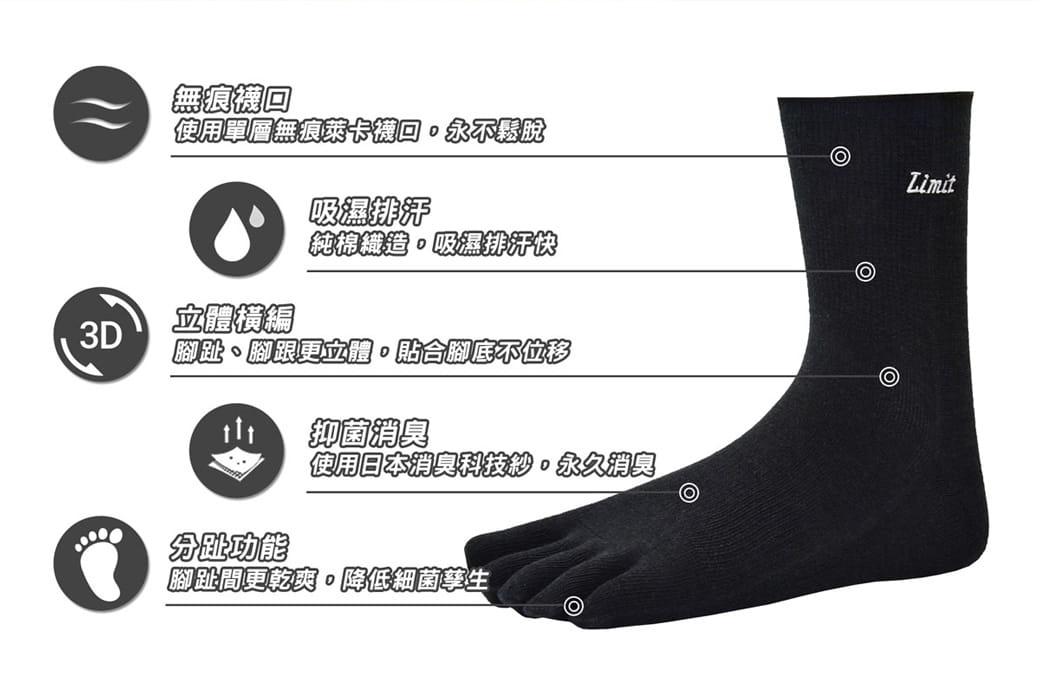 【力美特機能襪】專業五趾襪《4雙入》 3