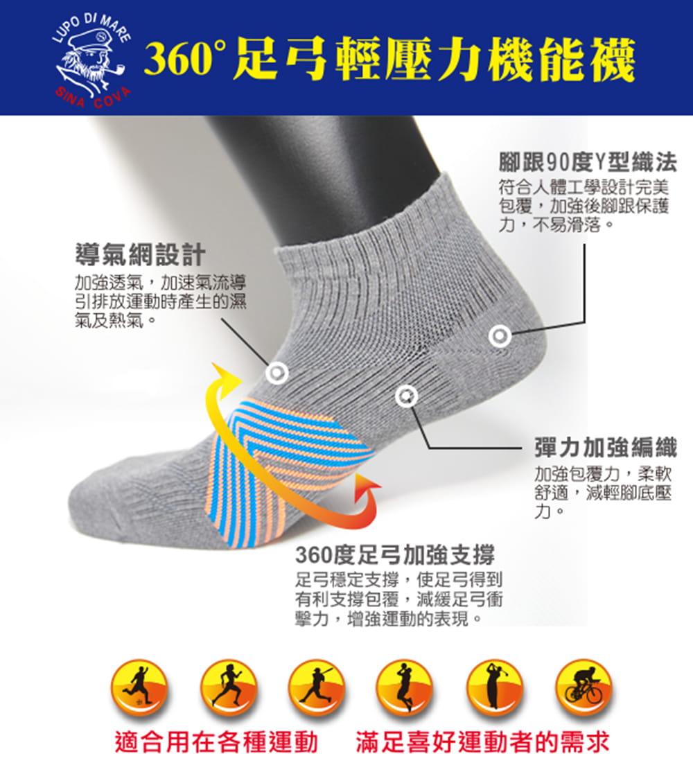 【老船長】(K144-6M)足弓輕壓機能運動襪-女款 2