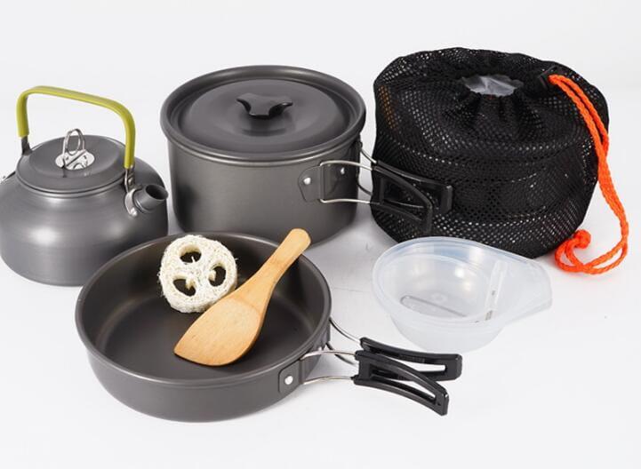 戶外野營便攜9件組不沾鍋+水壺 套鍋組(3-4人) 0
