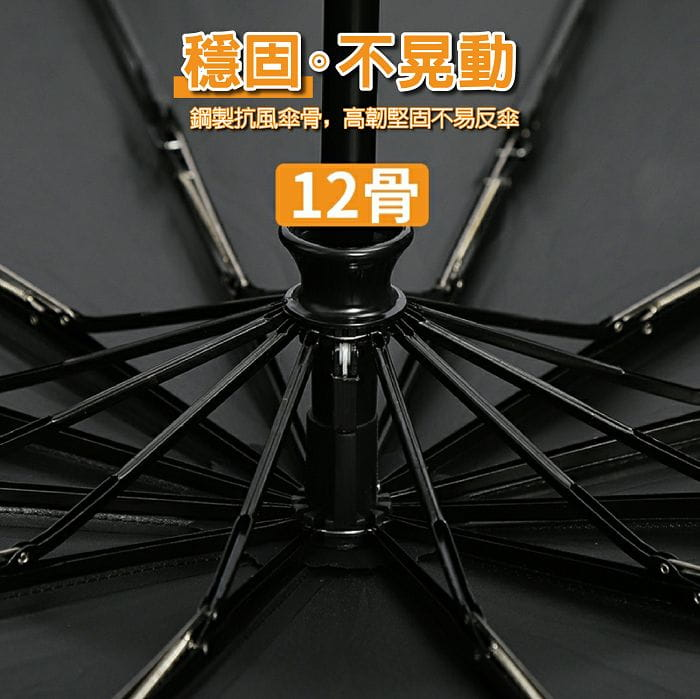 12骨全自動黑膠晴雨傘 4