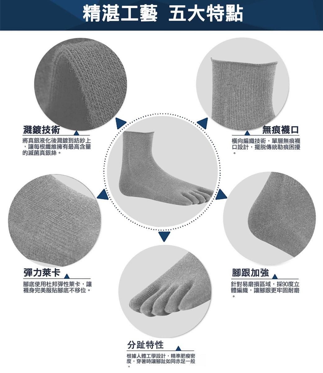 【力美特機能襪】銀纖五趾襪(灰銀) 6