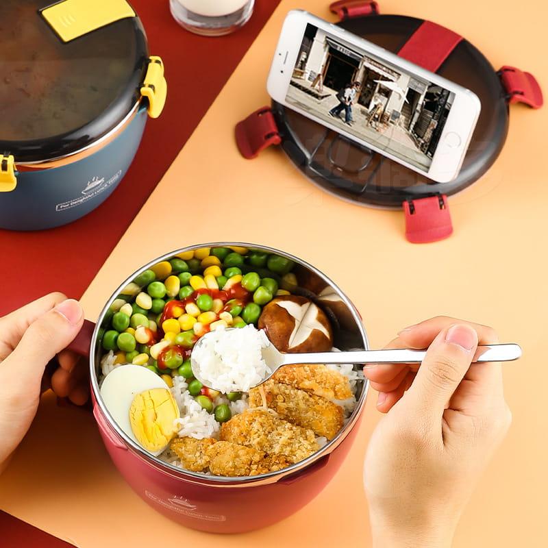 304不鏽鋼密封扣泡麵碗 蓋子可瀝水可當手機架 QF-9138【1300ml】泡麵碗 12