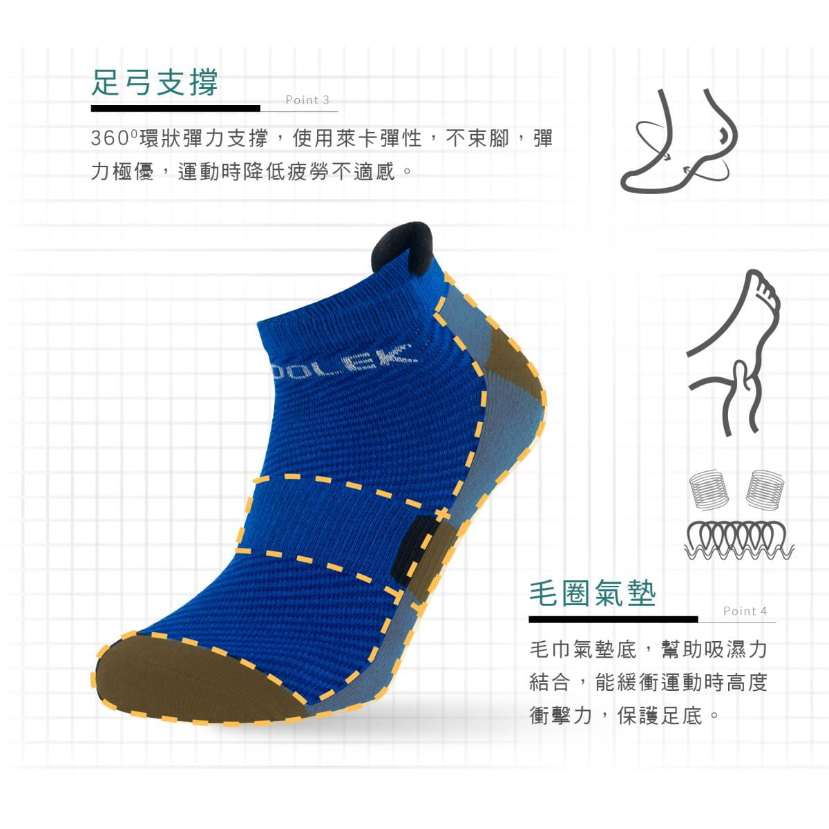 【FAV】純棉毛巾底足弓運動短襪 4
