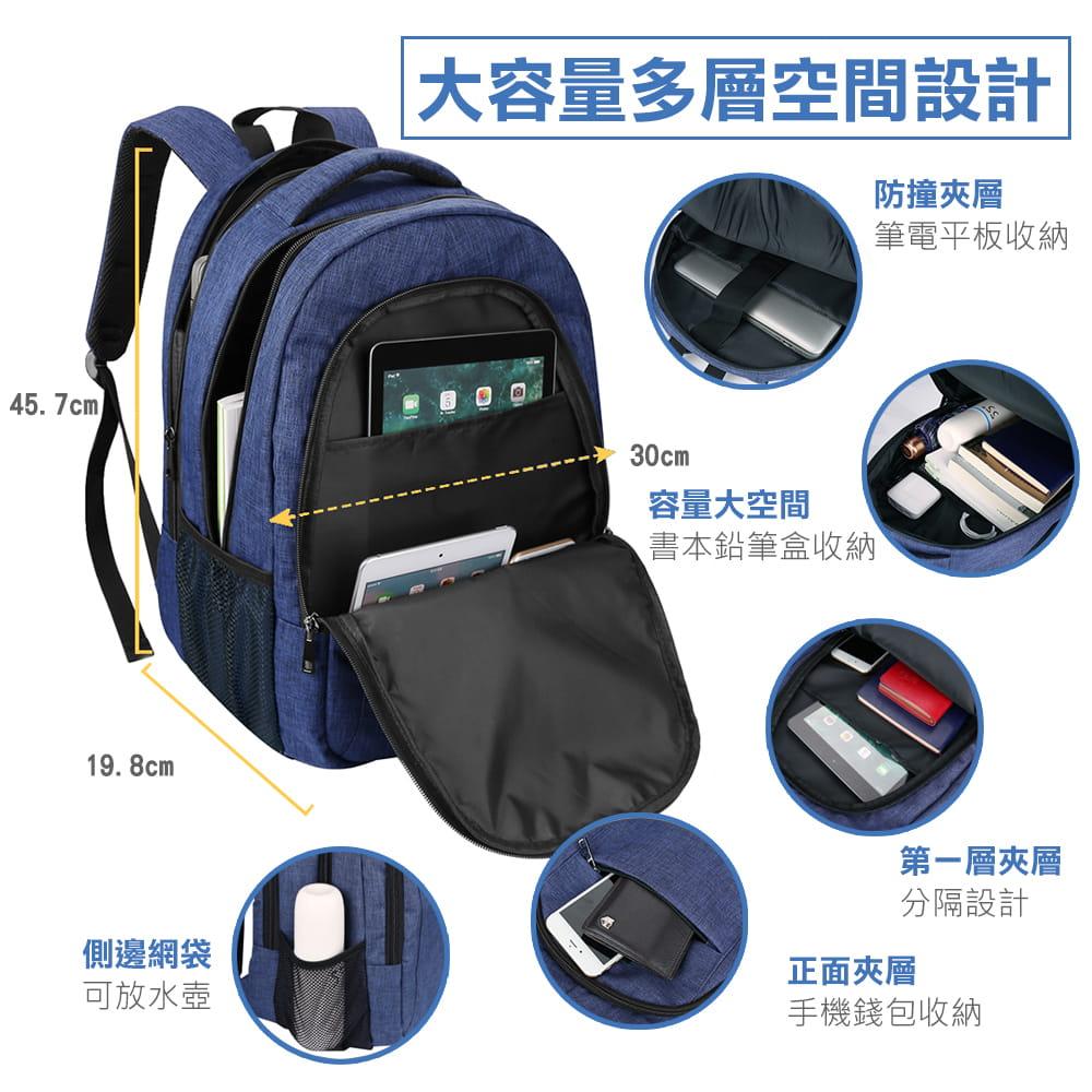 【AOTEKIN】防水透氣大容量多層電腦後背包 4