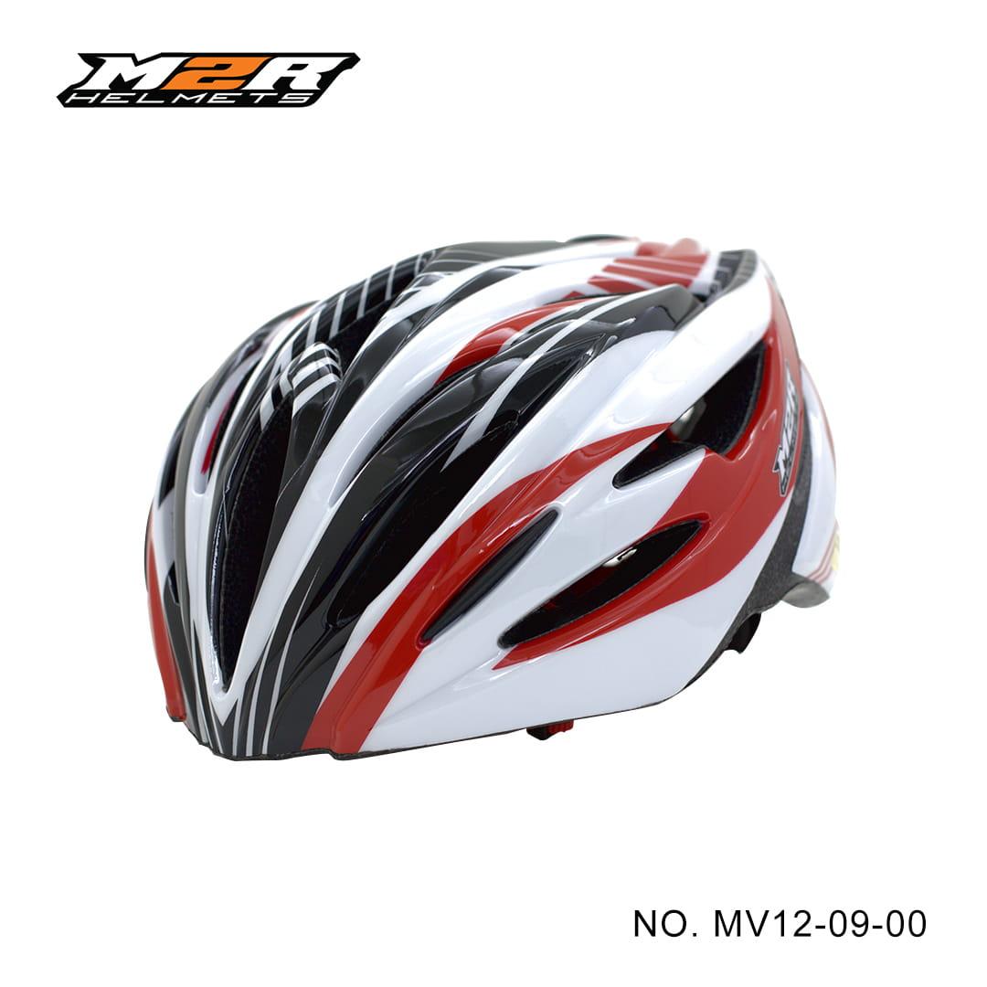 【路達自行車衣館】M2R 》MV12專業自行車安全帽 MV12-09-00 ★白紅 0
