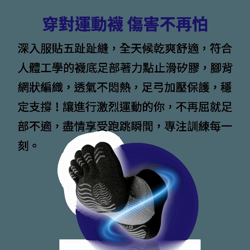 【sNug】極速五趾運動船襪 運動專業用襪 頂級規格 碟煞級止滑 加壓防護 健康除臭 5