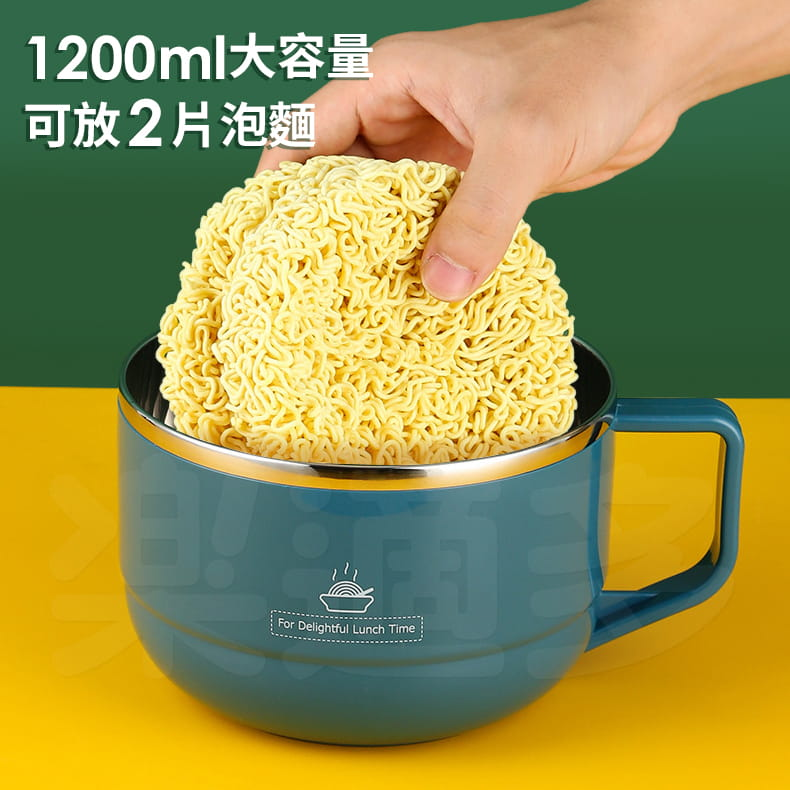 【1300ml】304不鏽鋼泡麵碗 蓋子可瀝水 蓋子可當手機架 SG9139泡麵碗 304不鏽鋼碗 16