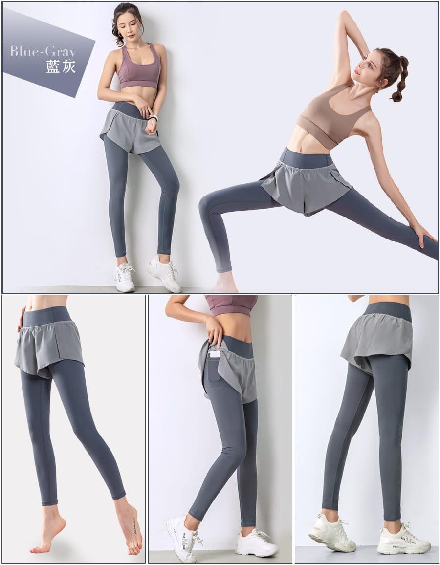 【Un-Sport 高機能】多款任選-異質拼接顯瘦假兩件長褲(瑜伽/健身/路跑) 12
