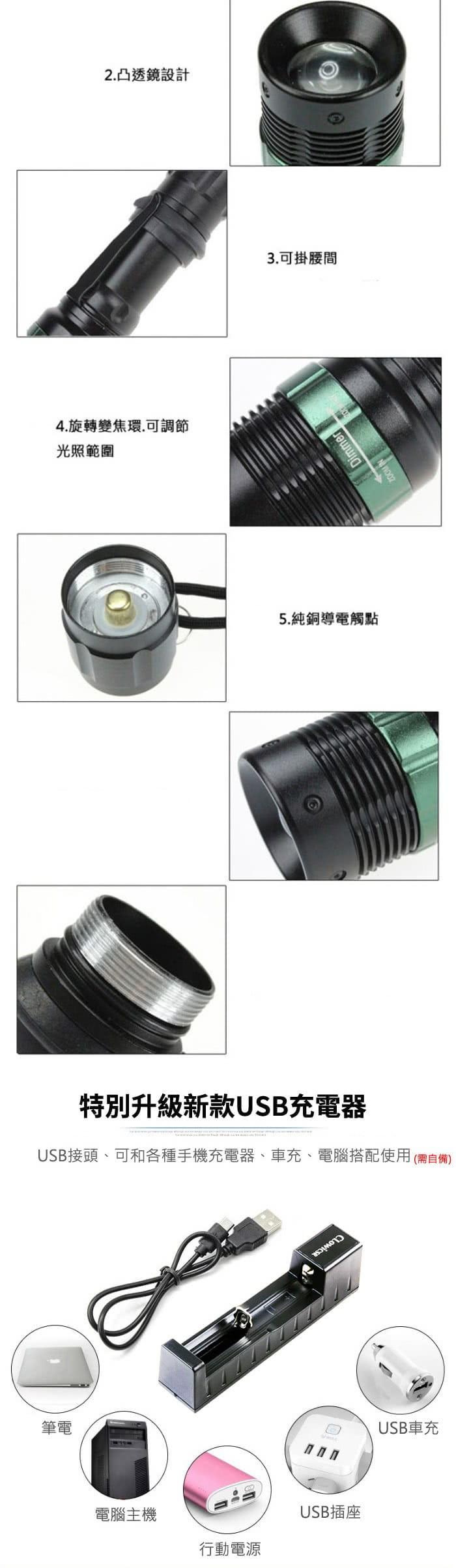旋轉變焦強光手電筒 Q5 LED 6件組 戰術手電筒自行車燈 3