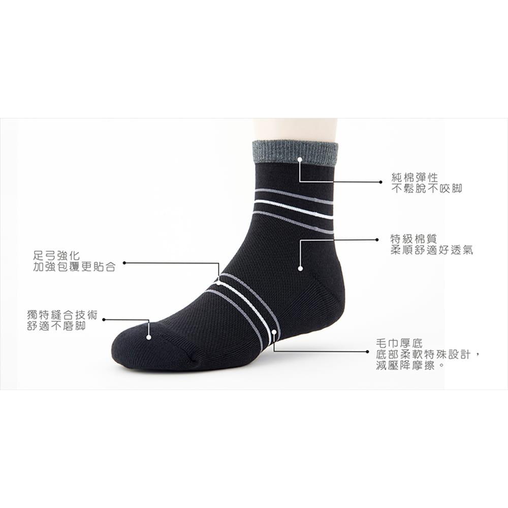 【老船長】(B3-144)三橫線毛巾氣墊加大運動襪 3