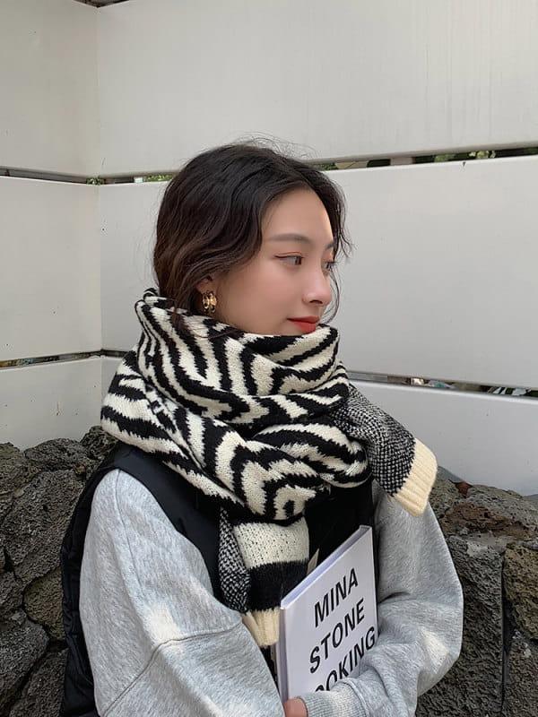 斑馬紋圍巾女冬季百搭韓版外搭時尚圍脖加厚保暖披肩 生日禮物
