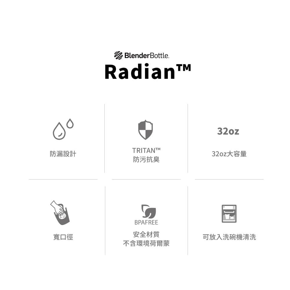 【Blender Bottle】Radian系列-Tritan旋蓋運動搖搖杯32oz(8色)+送mars隨手包 4