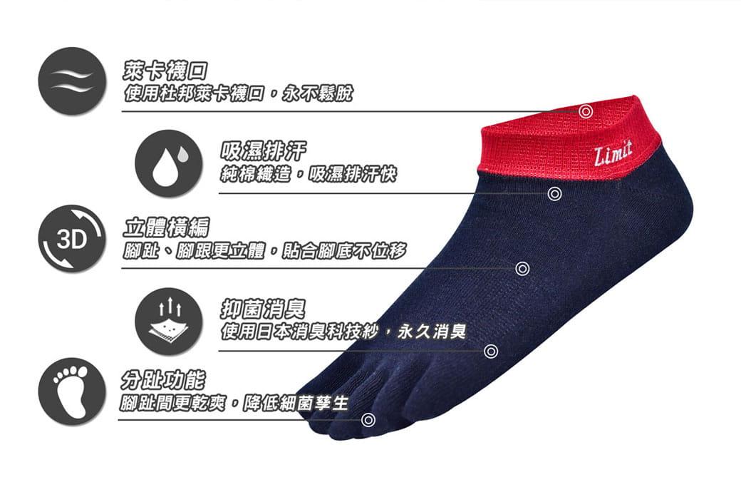 【力美特機能襪】五趾船型襪(丈青紅) 3