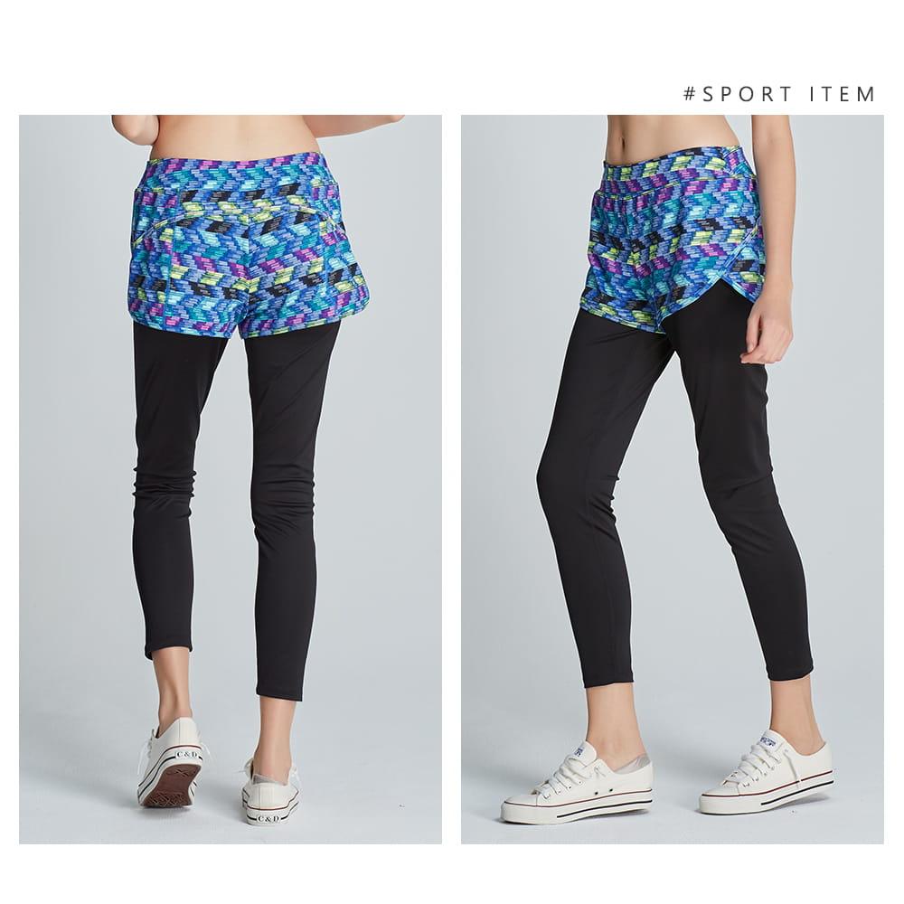 【yulab】(台灣製)女彈性數位假兩件內搭褲-2色可選 10