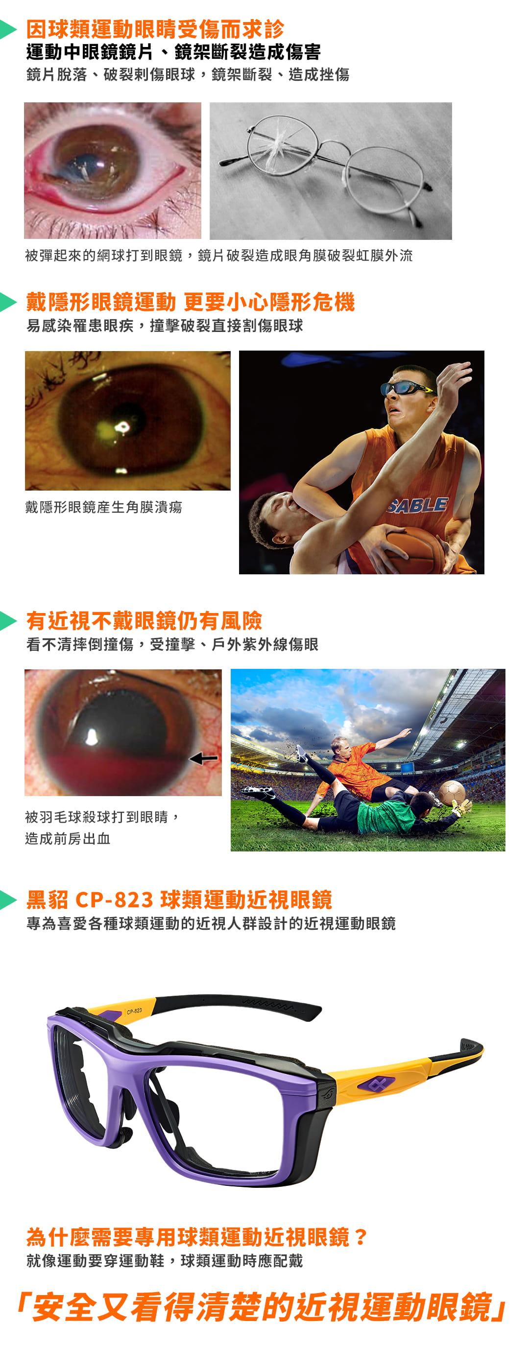 SABLE黑貂光學-專屬球類運動眼鏡CP-823(標準款-無保護墊)+SP-03(平光精緻鍍膜鏡片) 17