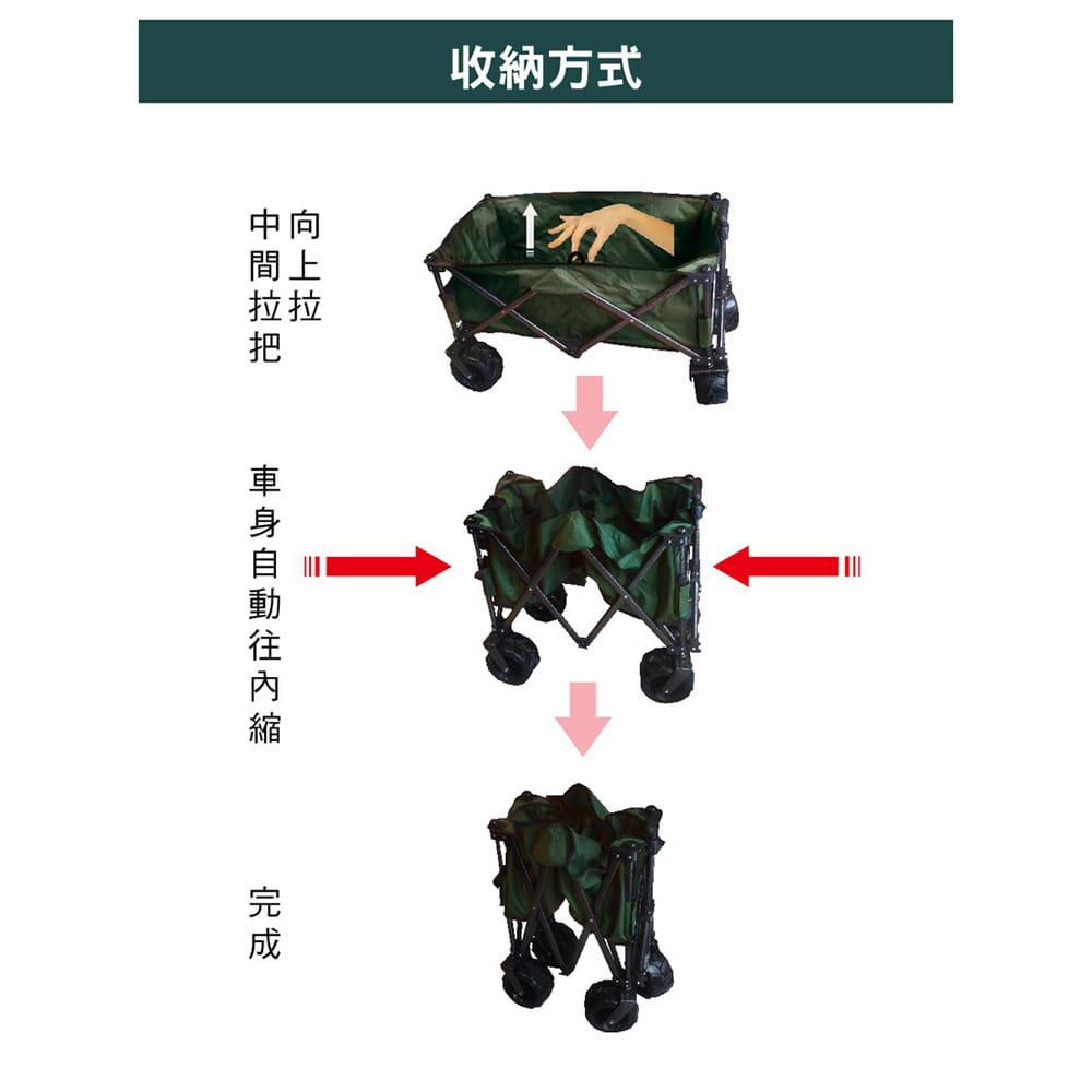四折可收納美式折疊推車/手拉車/購物車 可承重100kg 可拆洗 (迷彩色) 7