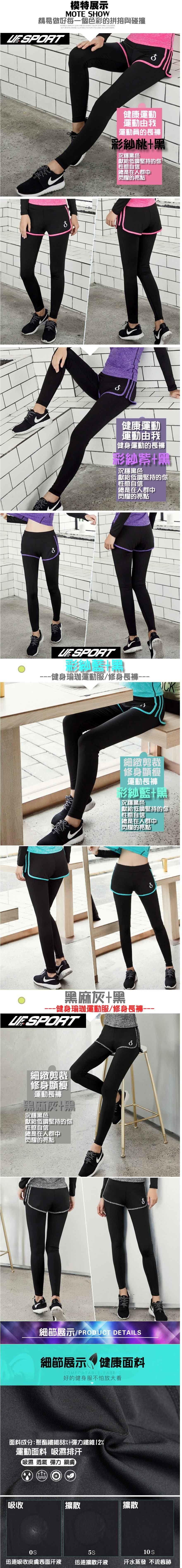 【UF72+】UF-W17121時尚高彈力女款速乾瑜珈輕壓假兩件運動褲/黑灰 1