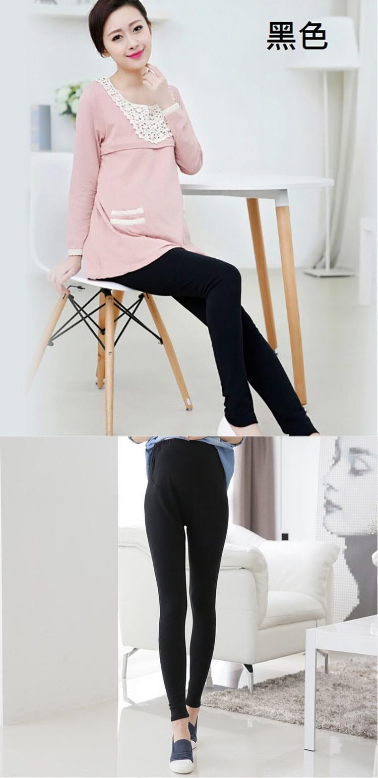 大尺碼全棉高彈力超顯瘦調節式舒適長褲/孕婦褲 9