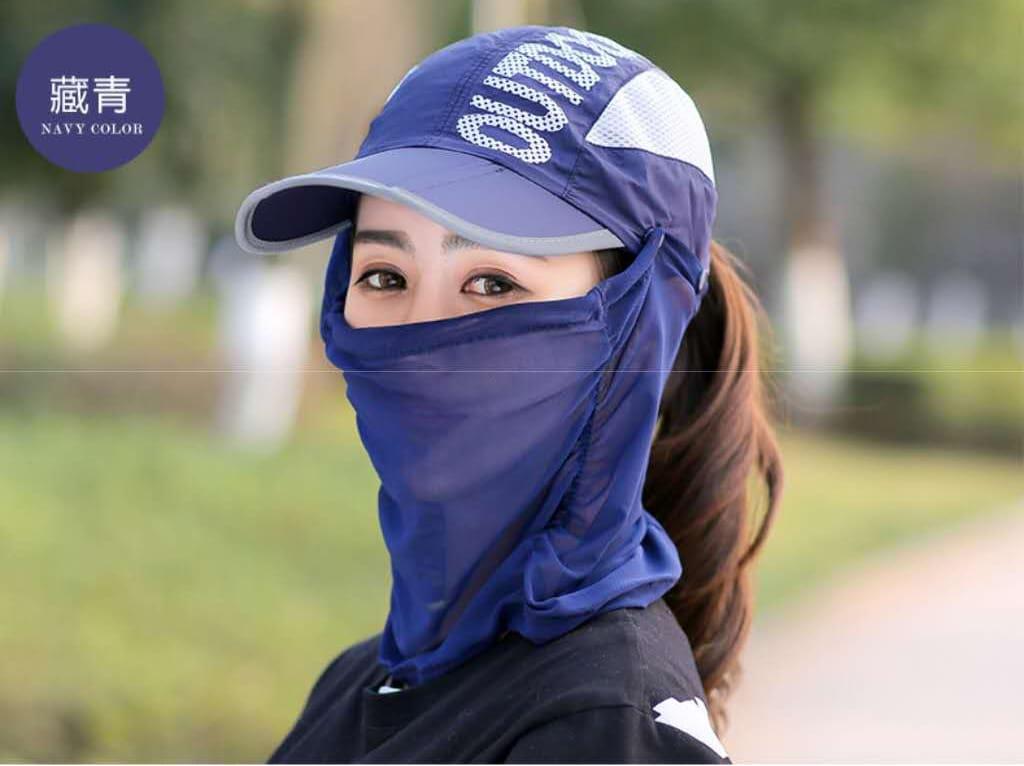 網頂全罩式可折疊防曬帽 夏天\遮臉\鴨舌太陽帽\戶外\折疊\紫外線\電動車\遮陽帽/自行車/腳踏車 14
